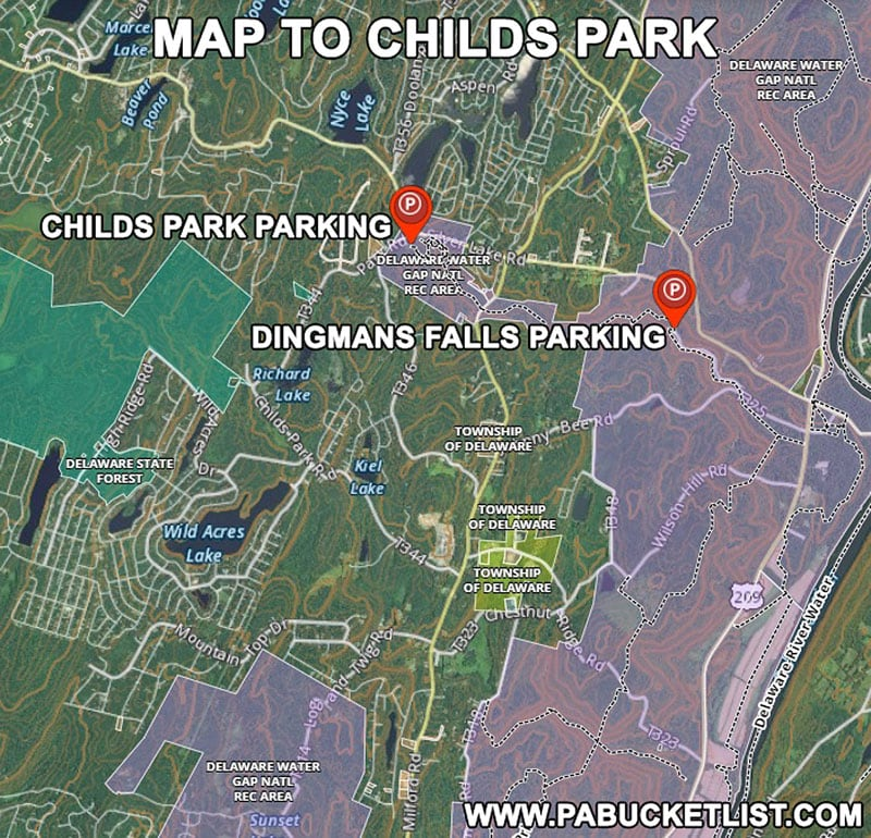 How to find Childs Park in the Delaware Water Gap Pike County Pennsylvania