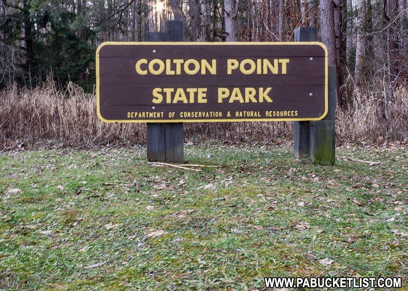 Colton Point State Park sign along Colton Road.