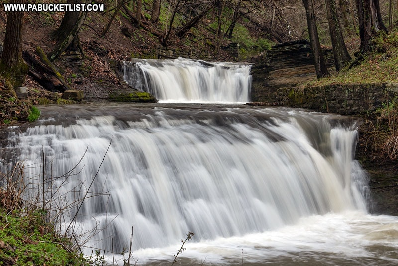 Close-up of East Park Falls in Connellsville PA