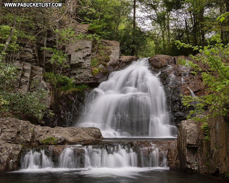 Springtime view of Hawk Falls at Hickory Run State Park