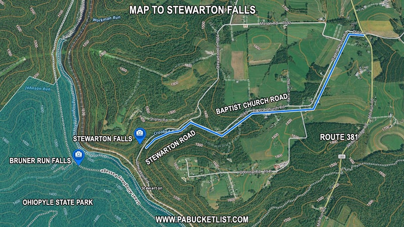 How to find Stewarton Falls in Fayette County Pennsylvania