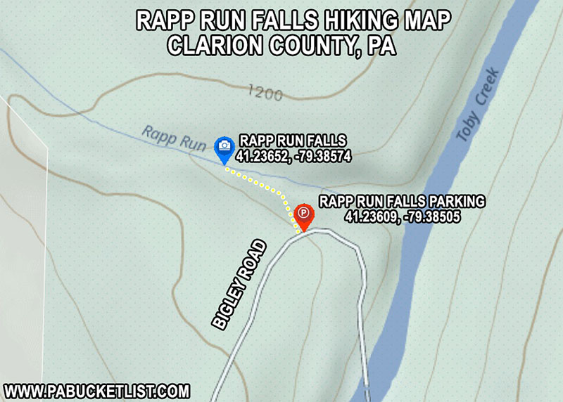 How to find Rapp Run Falls near Clarion Pennsylvania