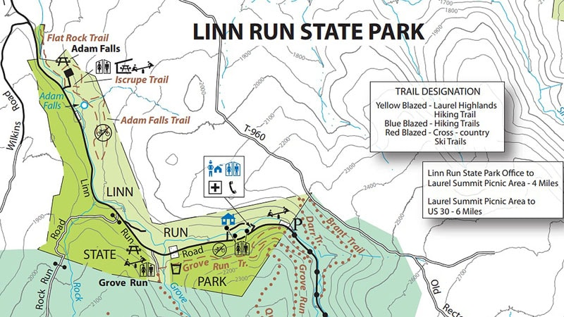 A map of Linn Run State Park in Westmoreland County Pennsylvania