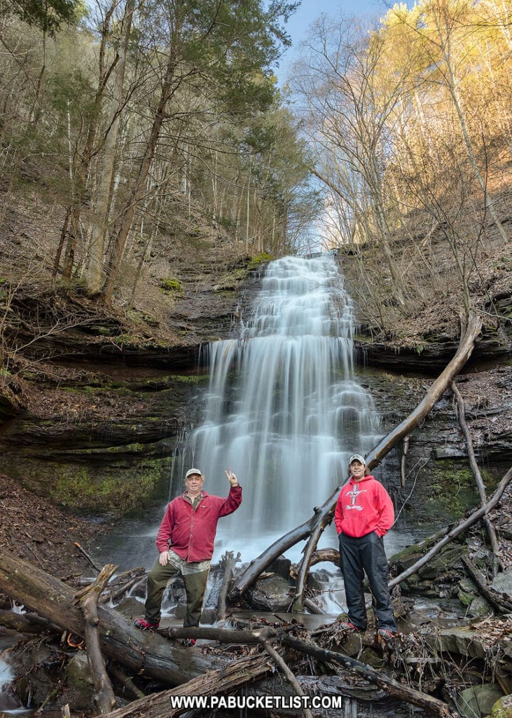 Steve Rubano and Rusty Glessner at Lower Bear Run Falls in Tioga County Pennsylvania