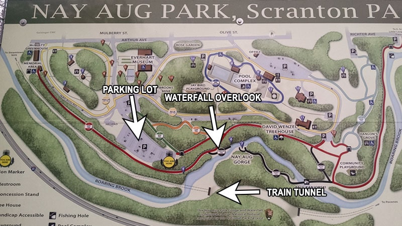 A map of Nay Aug Park showing how to find Nay Aug Falls