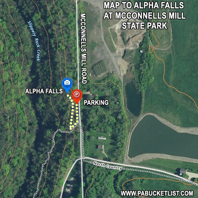 Map to Alpha Falls at McConnells Mill State Park