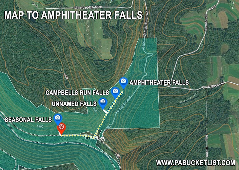How to find Amphitheater Falls in Tioga County Pennsylvania