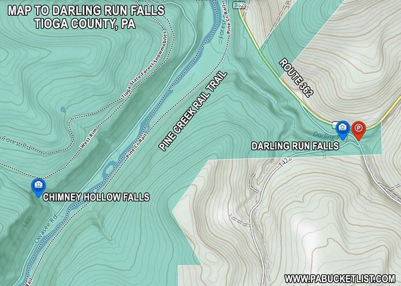 Map to Darling Run Falls in Tioga County Pennsylvania