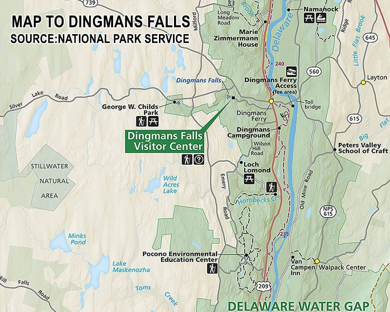 A map to Dingmans Falls in Pike County, Pennsylvania.