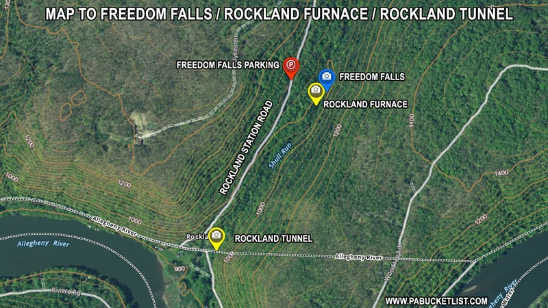 A map to Freedom Falls in Venango County PA