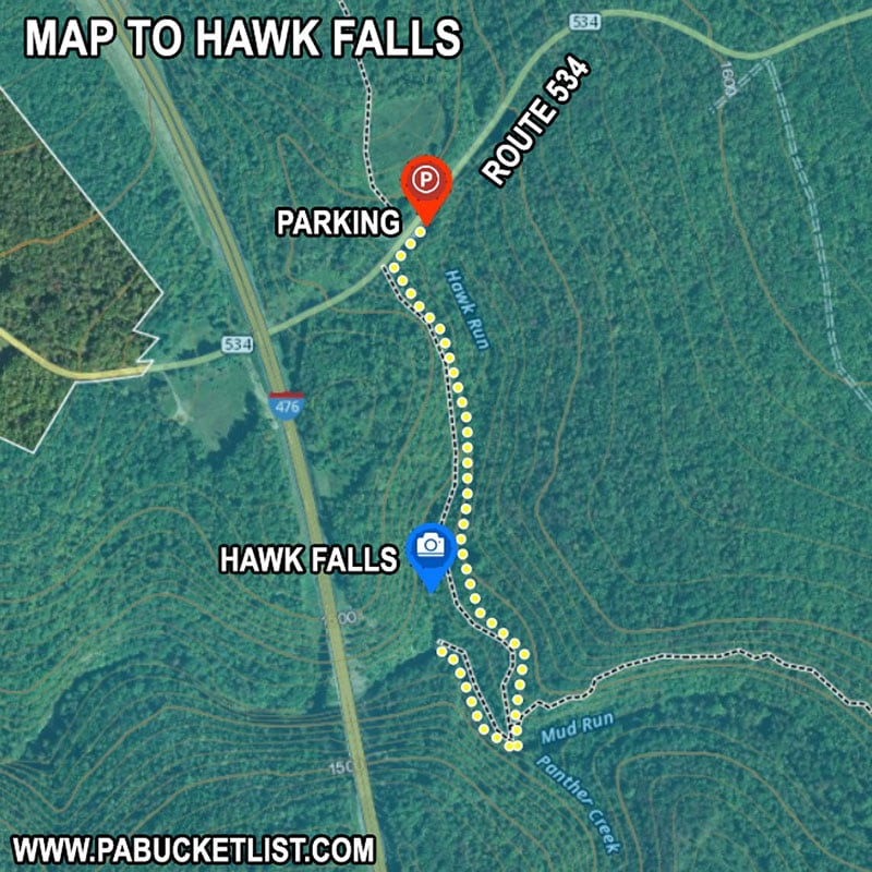 Map to Hawk Falls at Hickory Run State Park