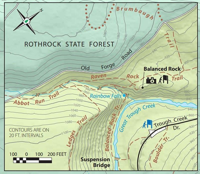 Map to Rainbow Falls in Pennsylvania