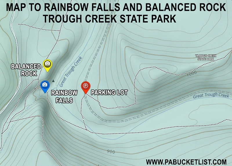 Map to Rainbow Fals and Balanced Rock at Trough Creek State Park