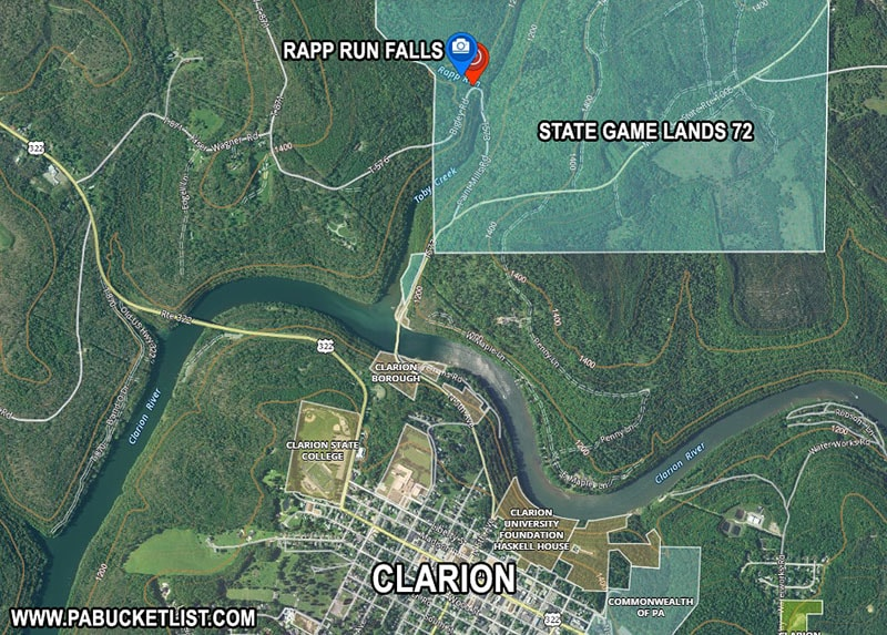 Map to Rapp Run Falls outside Clarion Pennsylvania