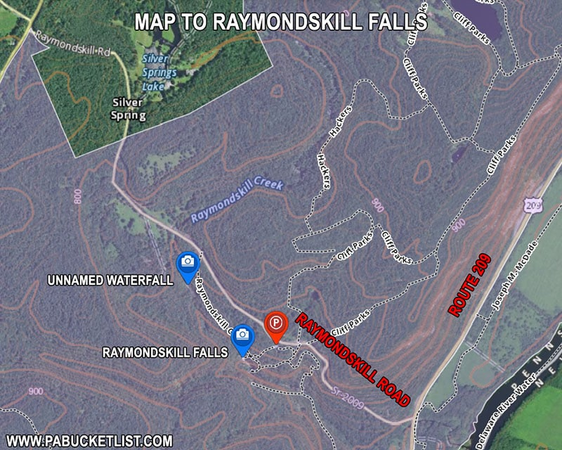 A map to Raymondskill Falls in Pike County PA