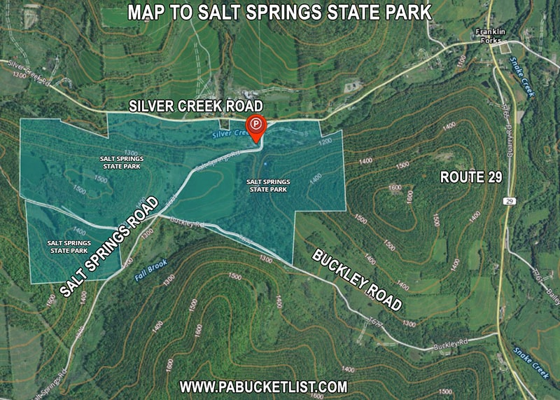 A map to Salt Springs State Park in Susquehanna County Pennsylvania