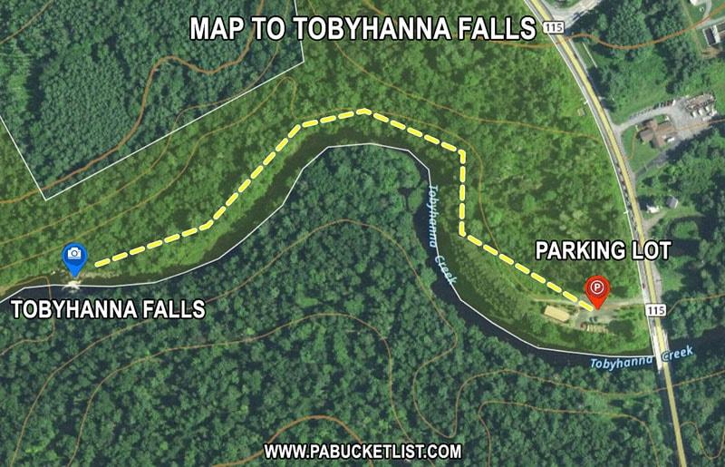 Tobyhanna Falls trail map.