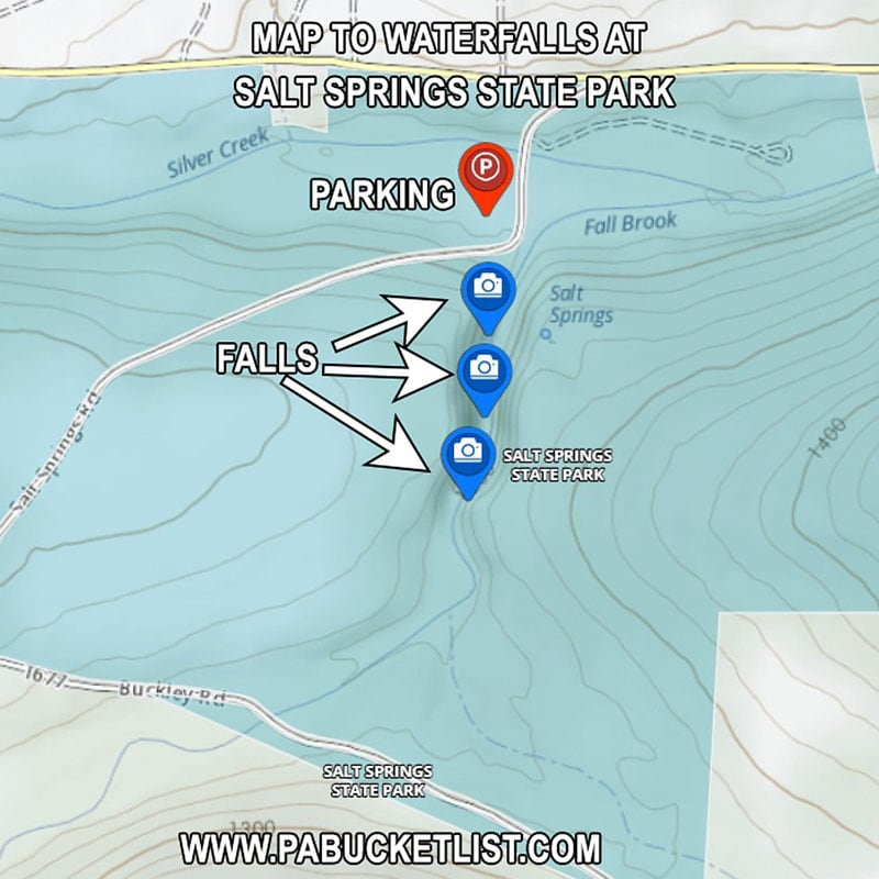 A map of the waterfalls at Salt Springs State Park