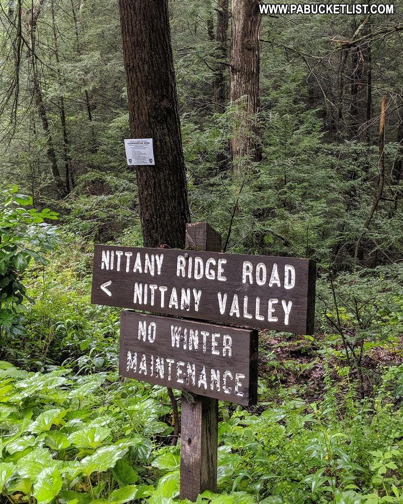 Nittany Ridge Road sign near Rosecrans Falls parking area.