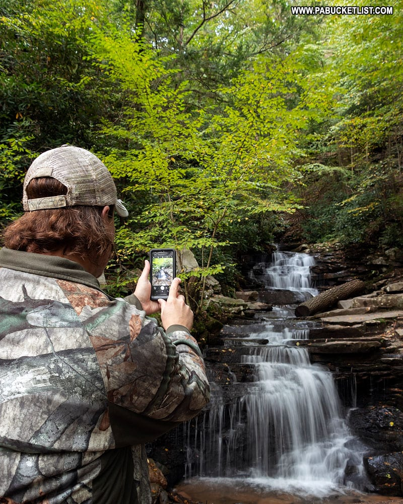 Rusty Glessner at Rainbow Falls in Pennsylvania
