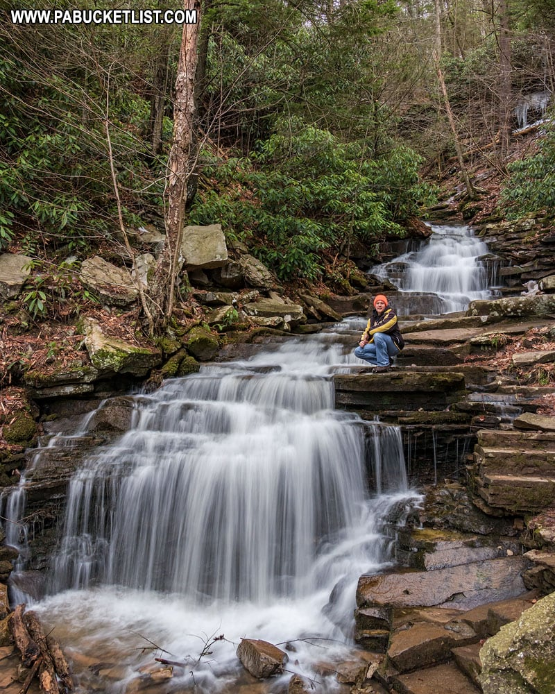Rusty Glessner at Rainbow Falls in Trough Creek State Park
