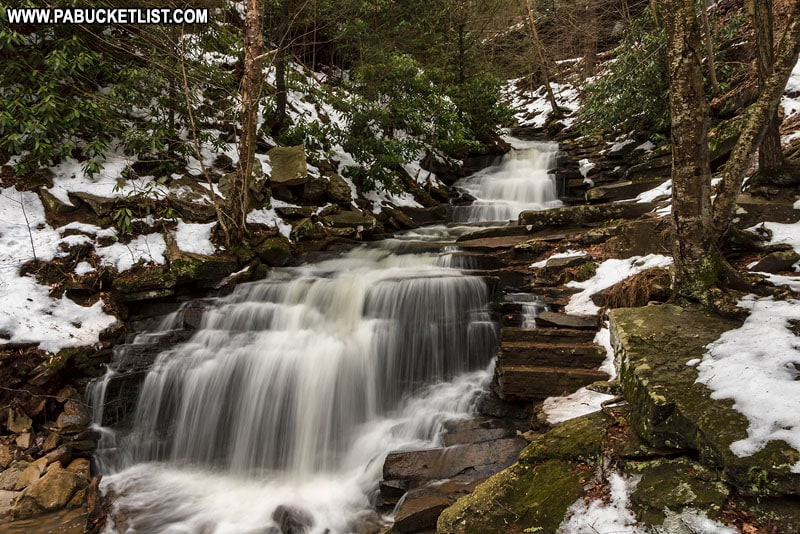 Winter at Rainbow Falls at Trough Creek State in Pennsylvania