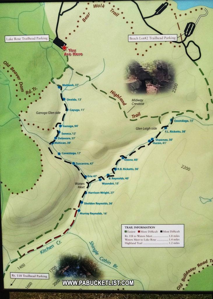 Falls Trail Map near Lake Rose Trailhead.
