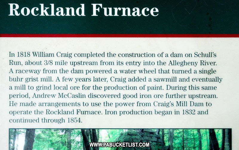 Rockland Furnace historical sign along the Allegheny River Rail Trail.