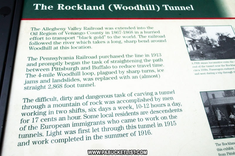 Rockland Tunnel historical sign along the Allegheny River Rail Trail.