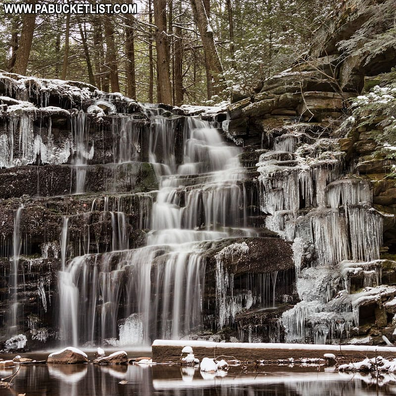Ice formations around Rosecrans Falls in Clinton County, Pennsylvania.