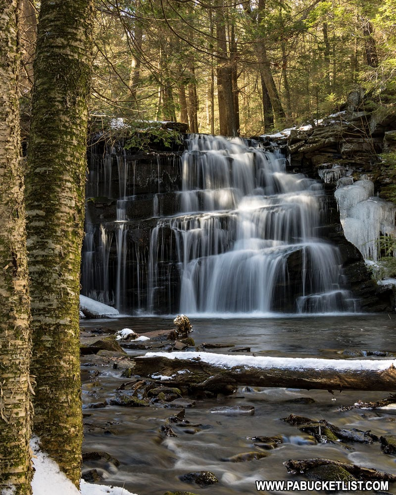 Rosecrans Falls in Clinton County on a winter morning.