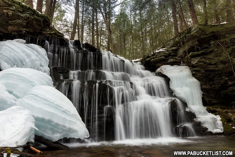 Rosecrans Falls in Clinton County Pennsylvania on a winter afternoon.