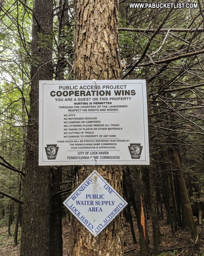 Public Access sign at Rosecrans Falls in Clinton County.