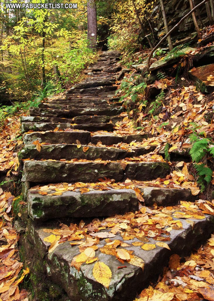 Stairs along the Balanced Rock Trail at Trough Creek State Park.