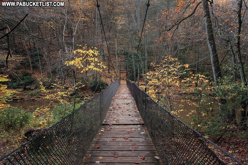The Suspension Bridge at Trough Creek State Park in Huntingdon County Pennsylvania