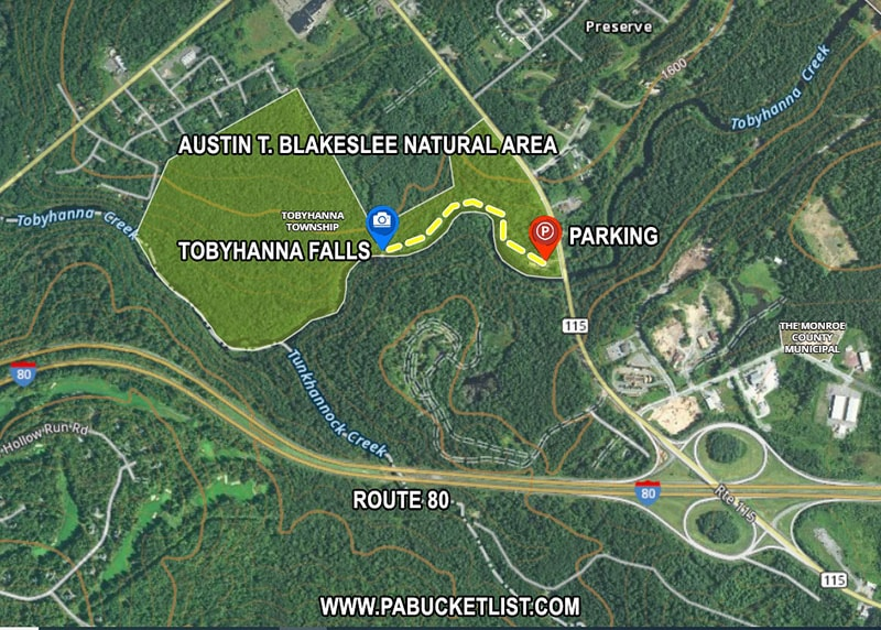 A map to the parking area for Tobyhanna Falls in Monroe County Pennsylvania