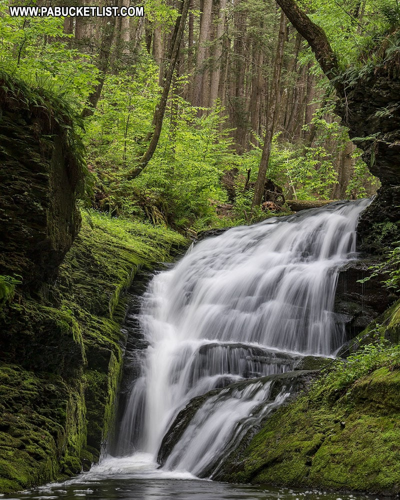 Waterfall along Upper Hornbecks Trail in Pike County Pennsylvania
