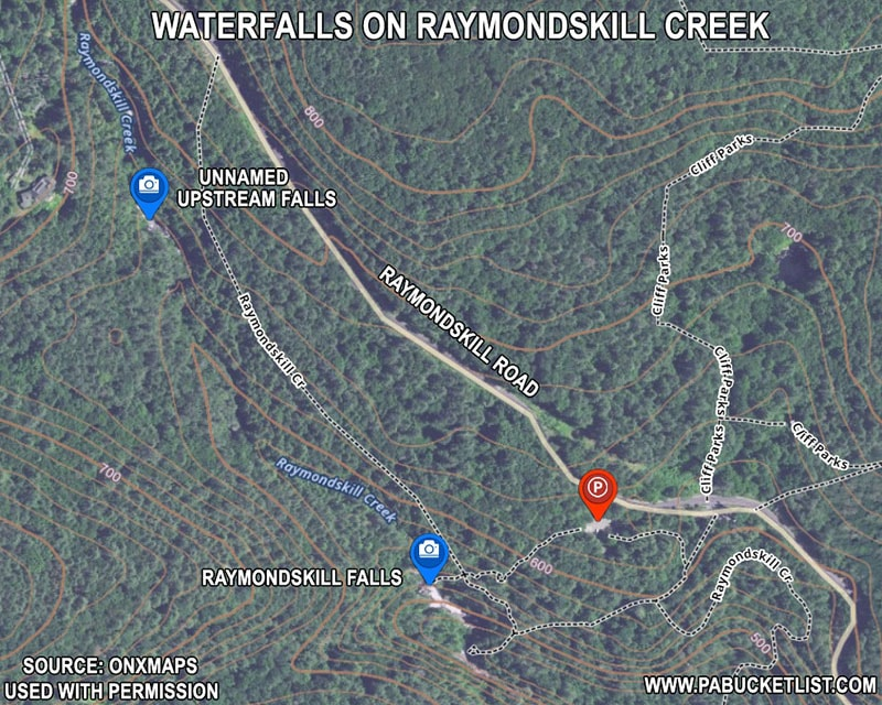 A map of Raymondskill Falls hiking trails in Pike County PA