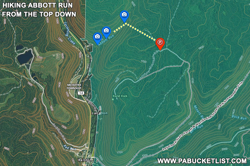 How to find the waterfalls on Abbott Run in the McIntyre Wild Area Lycoming COunty Pennsylvania