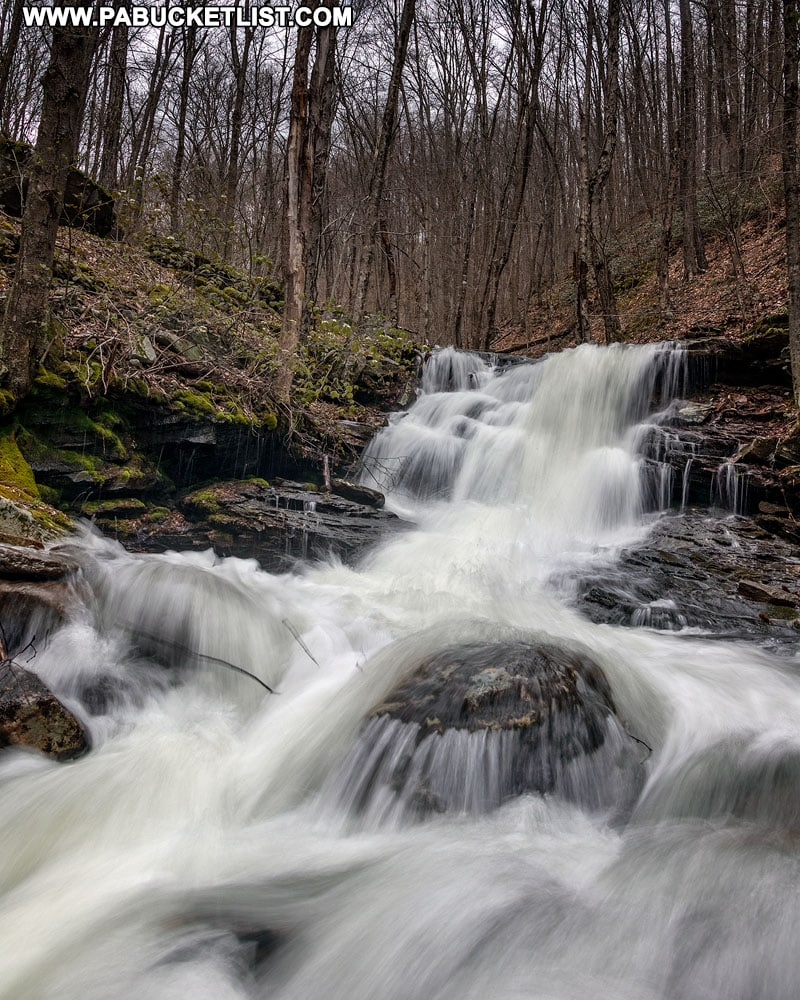 Left branch waterfalls on Abbott Run in the McIntyre Wild Area Lycoming County Pennsylvania