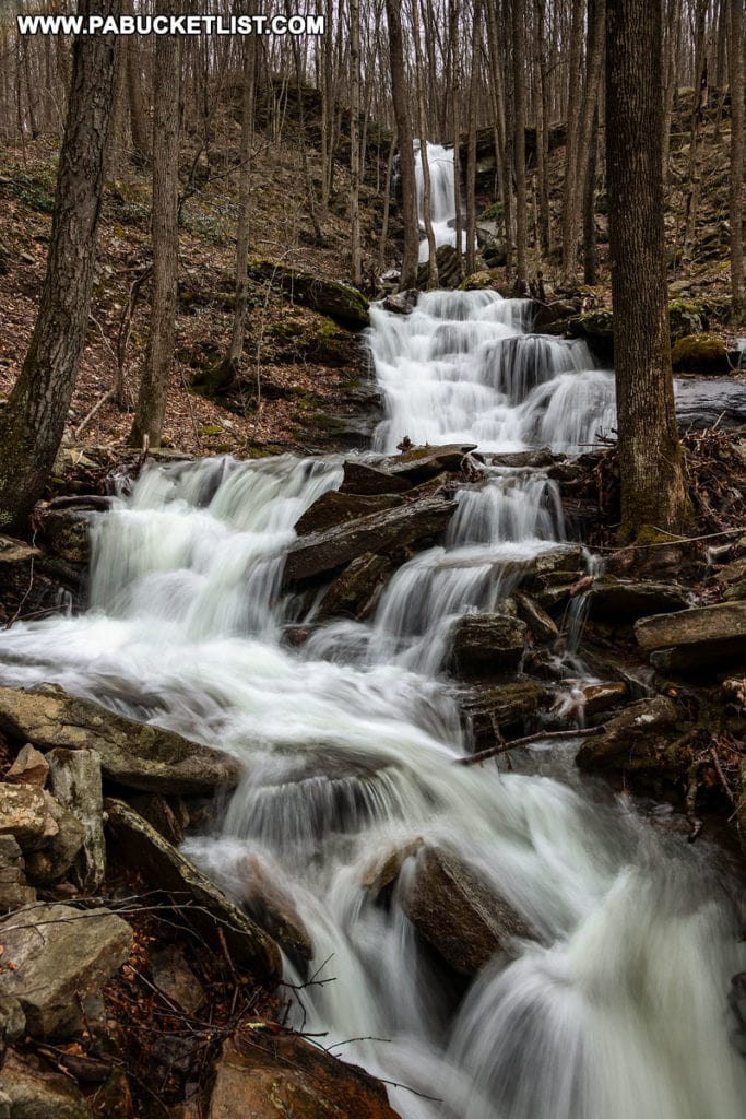 The right branch waterfalls on Abbott Run in the McIntyre Wild Area Lycoming County Pennsylvania