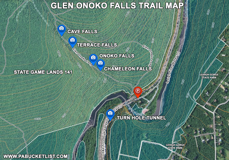 How to find the Glen Onoko Falls Trail near Jim Thorpe Pennsylvania