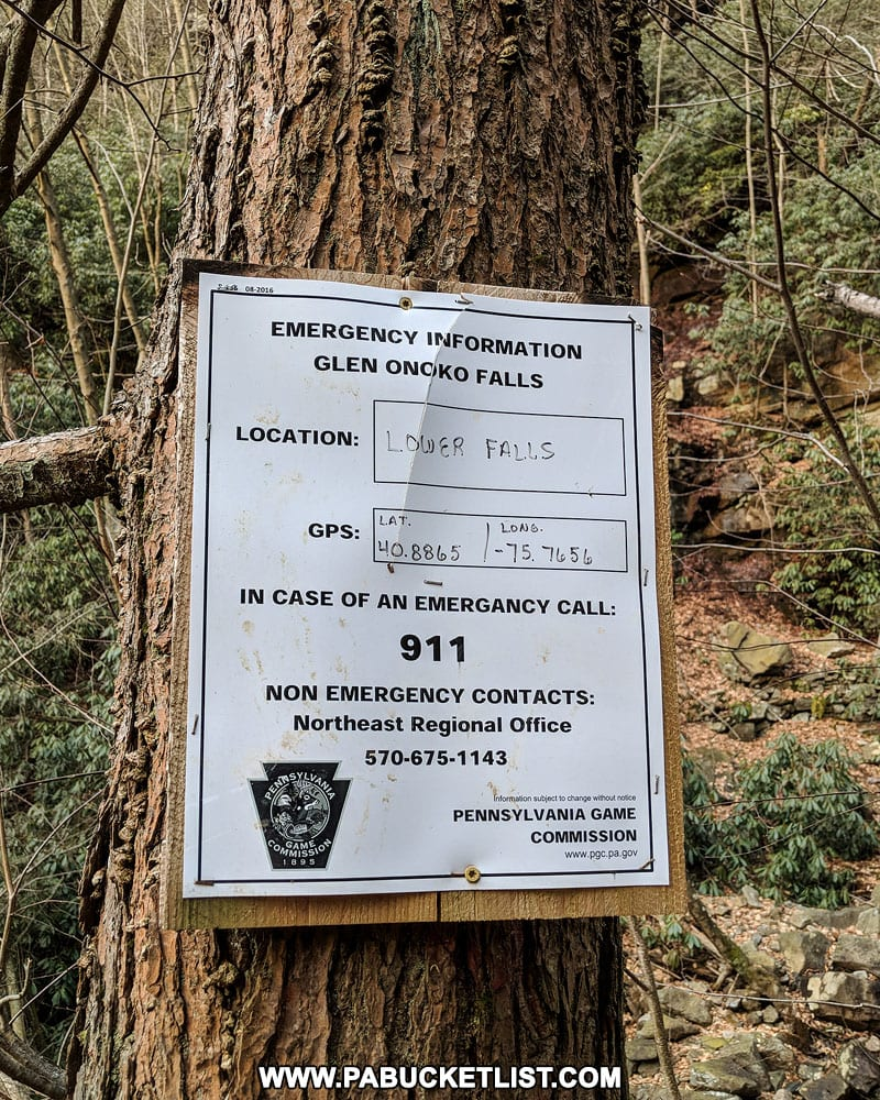 Emergency sign near Chameleon Falls at Glen Onoko on State Game Lands 141