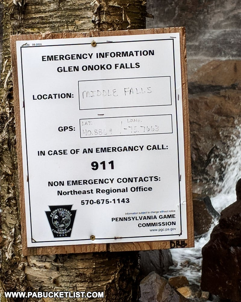 Emergency sign near Onoko Falls at Glen Onoko on State Game Lands 141