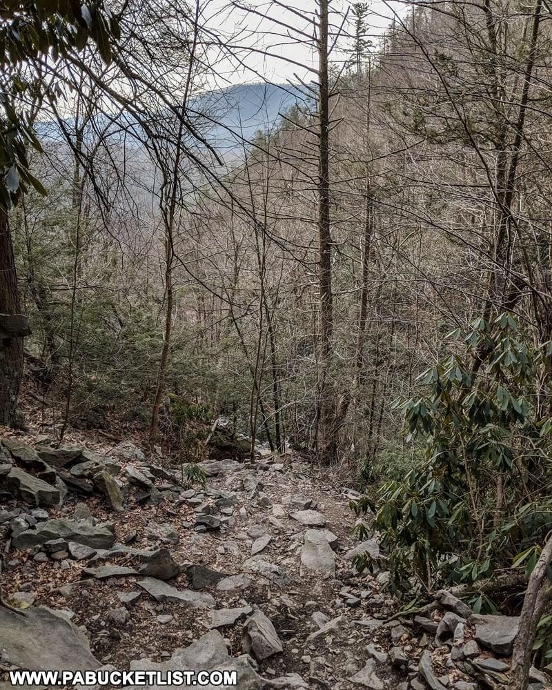 The Glen Onoko Falls Trail near Jim Thorpe Pennsylvania