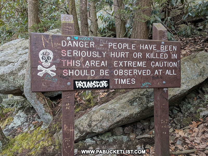 A warning sign along the Glen Onoko Falls Trail near Jim Thorpe Pennsylvania