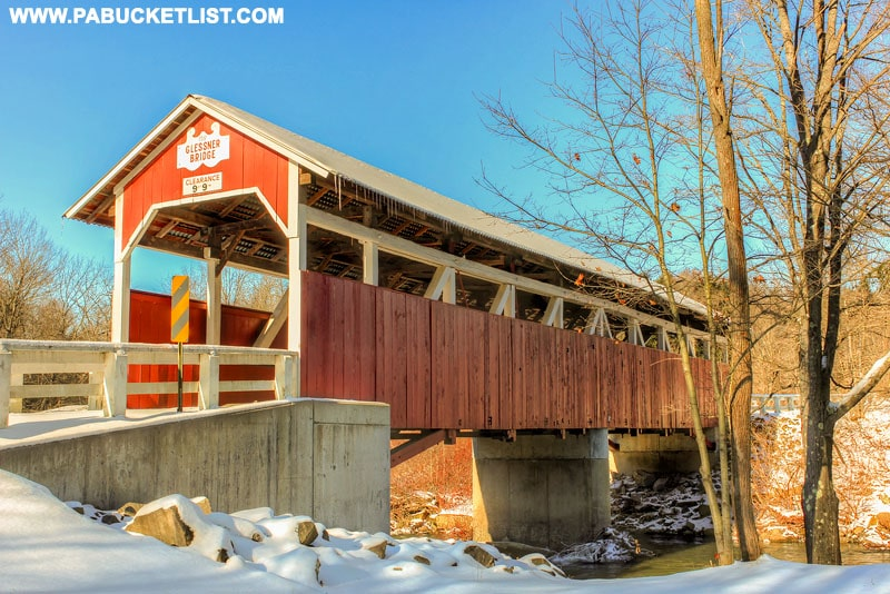A winter view of the Glessner Covered Bridge in Stoneycreek Township, Pennsylvania.