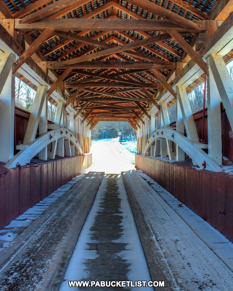 Inside the Glessner Covered Bridge in Pennsylvania