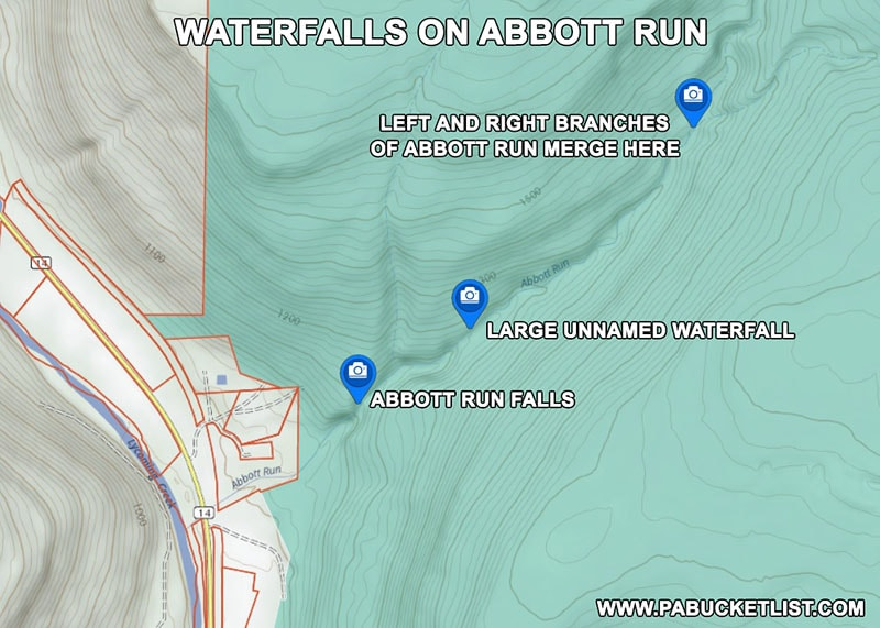 Location of the major waterfalls on Abbott Run in the McIntyre Wild Area Lycoming County Pennsylvania