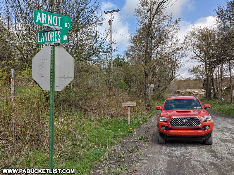 Intersection of Arnot Road and Landres Road in Tioga County PA